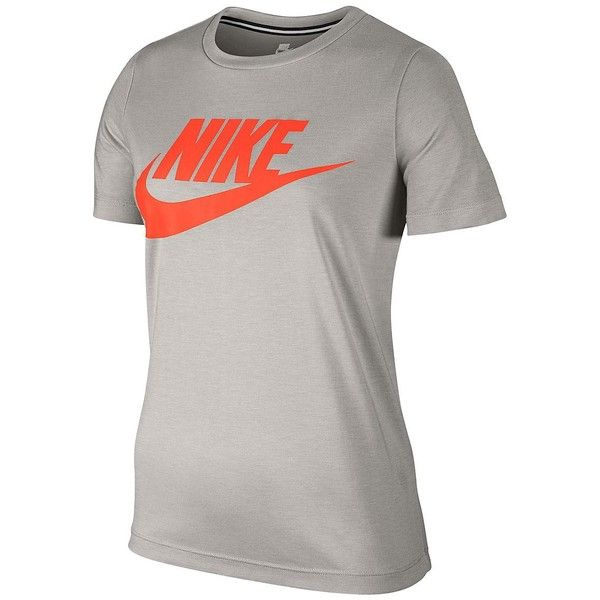 Nike Women's Essential Crewneck Graphic Tee ($30) ❤ liked on Polyvore featuring tops, t-shirts, grey, graphic design t shirts, short sleeve graphic tees, graphic print t shirts, crew neck t shirt and nike t shirt