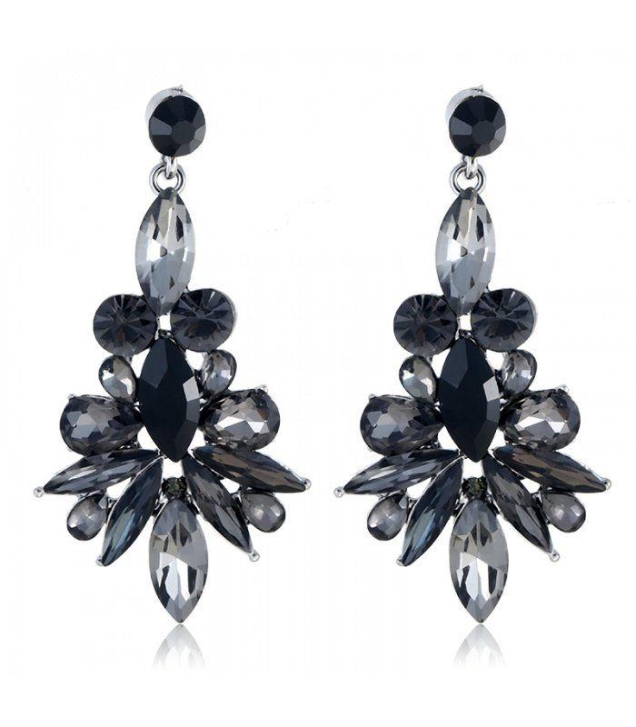 Zwarte oorbellen met mooie steentjes|mooie oorbellen koop je online|Snelle verzending | Yehwang fashion en sieraden