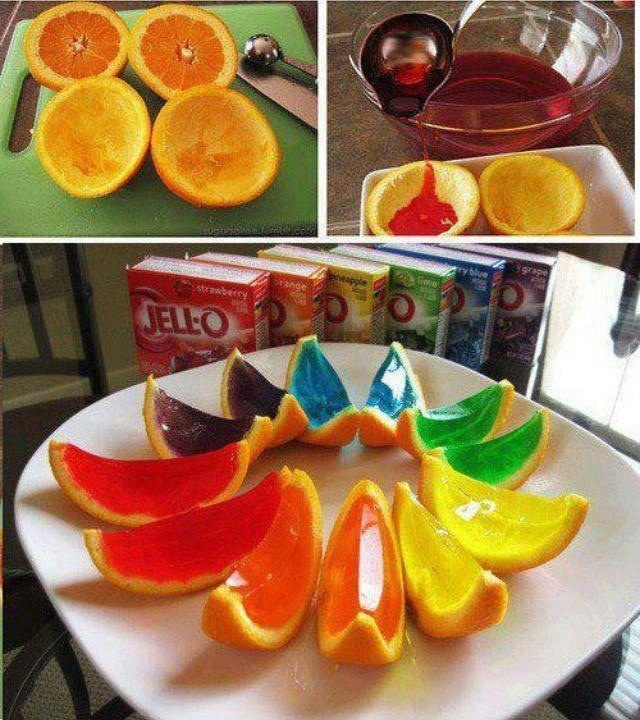 Like to make Jello shots? Here is a great new idea in which you scrape out the center of a sliced orange and pour the jello mix in the center to harden. Once the jello has hardened slice them in half and you have sliced jello shots :)