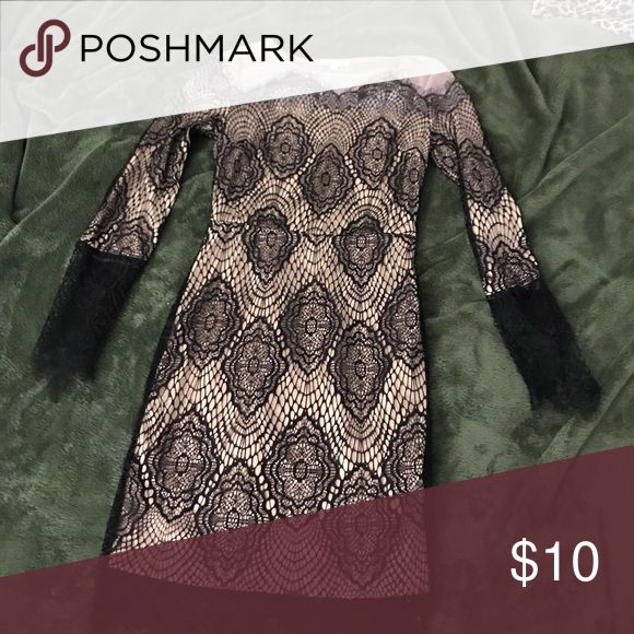 Adorable lace and nude mini dress Worn twice, many compliments! Has stretch to it. Side zipper. Dresses Mini