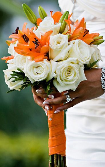 Tiger Lily and White Rose bouquet.: