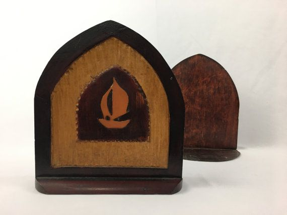 Vintage Wood Sailboat Craftsman Style Handmade Early Bookends