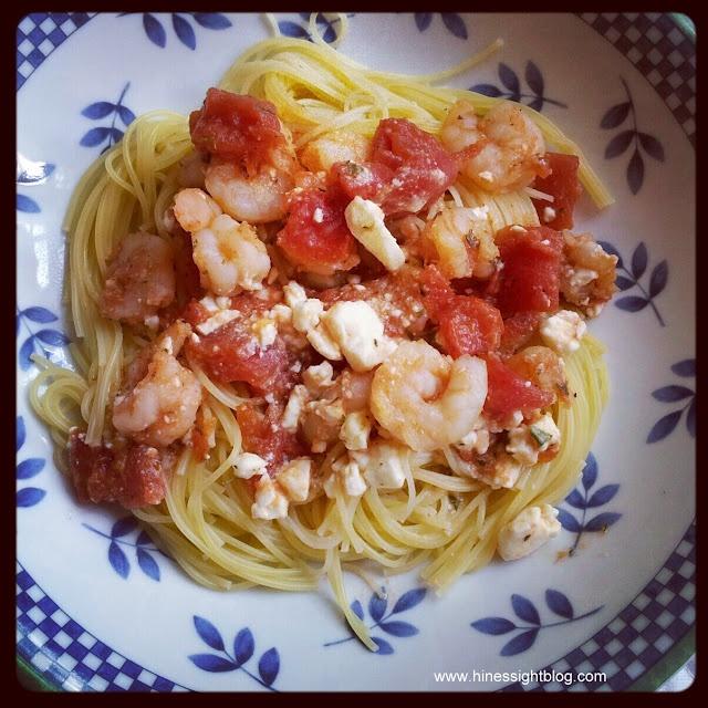 Easy pasta, shrimp, feta recipe