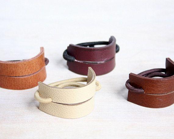 Lederen haarband | Paardenstaart Wrap | Paardenstaart houder | Haar stropdas