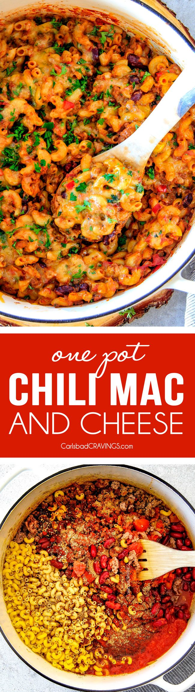 ONE POT Chili Mac and Cheese is on your table in under 30 Minutes! It's Chili Con Corne + Macaroni and Cheese = crazy delicious, comforting new family favorite! via @carlsbadcraving