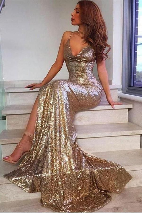 c87d109b22 Sparkly Long Mermaid V-neck Sexy Beauty Prom Dresses Evening Dresses ...