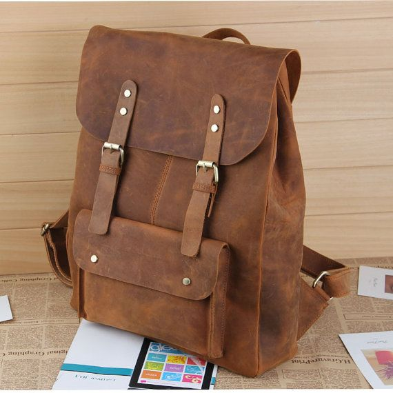 "Large Handmade Antique Leather Backpack / Leather Satchel / Leather Travel Bag / Day Pack / 17"" MacBook 17"" Laptop Bag in Vintage Brown #B01"