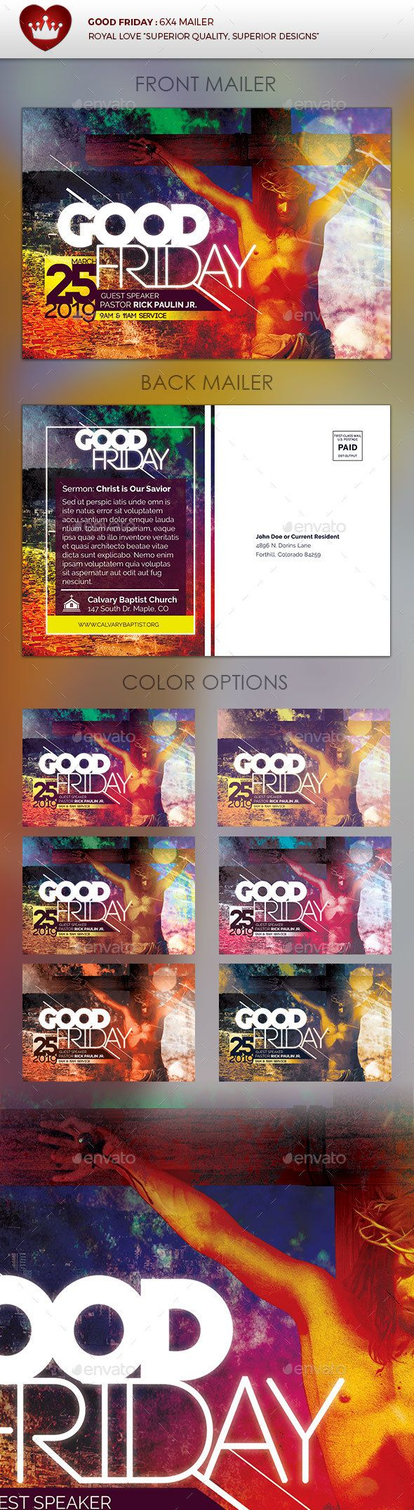 Good Friday Church Mailer — Photoshop PSD #conference #easter • Available here → https://graphicriver.net/item/good-friday-church-mailer/15357354?ref=pxcr
