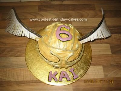 Homemade Harry Potter Golden Snitch Cake: As I am no artist, I wanted to make a Harry Potter themed cake.  I used a ball cake tin, which comprises 2 separate halves, which when put together make