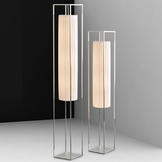 Fabrice Berrux Avant-garde Lamp  Polished stainless-steel or lithium painted steel structure.  Antistatic satin polyester with a Watteau pleat (red or white).  Diffusing top in satin-like PMMA.  Transparent wire.    Option: dimmer on power cable with specific compact fluorescent bulbs.