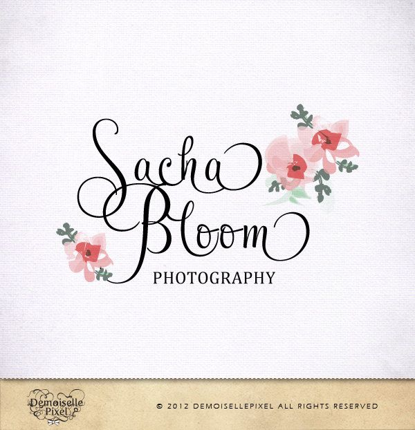 Photography Logo Hand Drawn Blooms Custom Swash Text for Photographer and Boutique. $39.90, via Etsy.