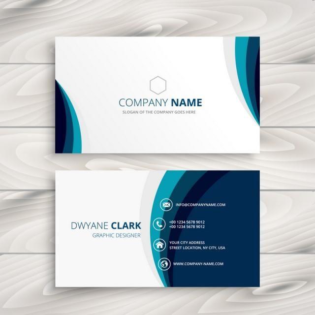 Blue Wave Business Card Design Template Vector Design Illustration Visiting Card Design Name Card Design Free Business Card Design
