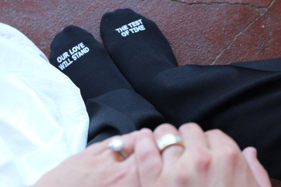 "Grooms Socks ""Our love will stand the test of time"" Wedding Gift Idea, Mens Wedding Socks Gift from Bride, Groom Wedding Attire Accessory"