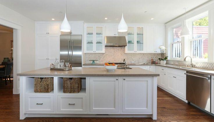 shitake caesarstone quartz with white cabinets
