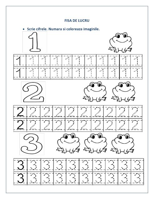 FISE cu cifre pentru clasa pregatitoare - Cifre punctate / Recapitulare cifre | Fise de lucru - gradinita
