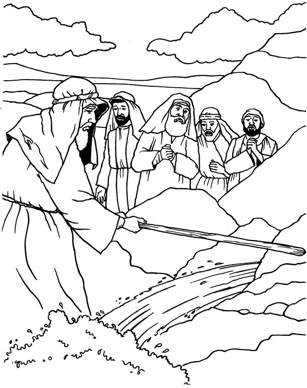 moses water from rock coloring page - Google Search