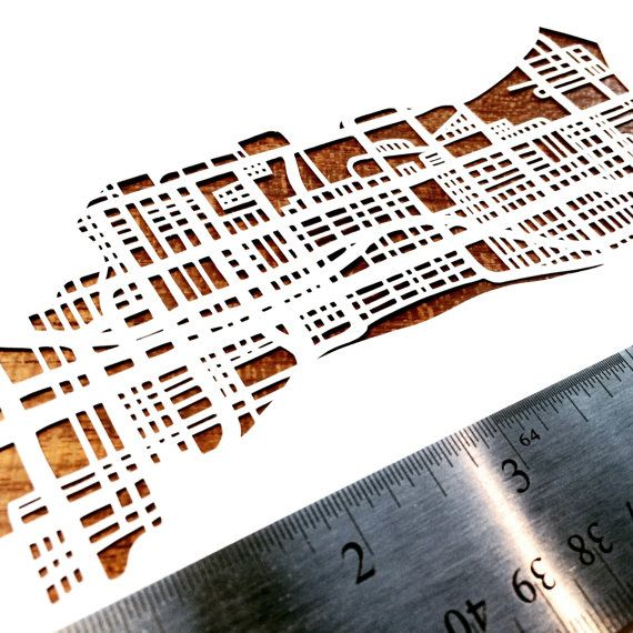 Paper cut map of Hamilton ON streets 11x17 by CUTdesignsrt