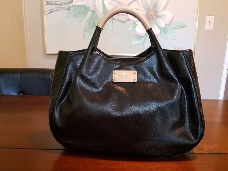 Up for your consideration is Kate Spade New York Uxbridge Crinkle Black Patent Leather Stevie Bag Purse. Kate Spade I.D plate on the front. Plenty of life left in this bag! interior zippered pocket. four protective feet on the bottom. | eBay!