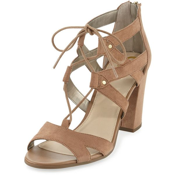 Circus By Sam Edelman Emilia Micro-Suede Lace-Up Sandal ($48) ❤ liked on Polyvore featuring shoes, sandals, camel, block heel sandals, open toe sandals, strappy block heel sandals, lace up block heel sandals and lace-up sandals