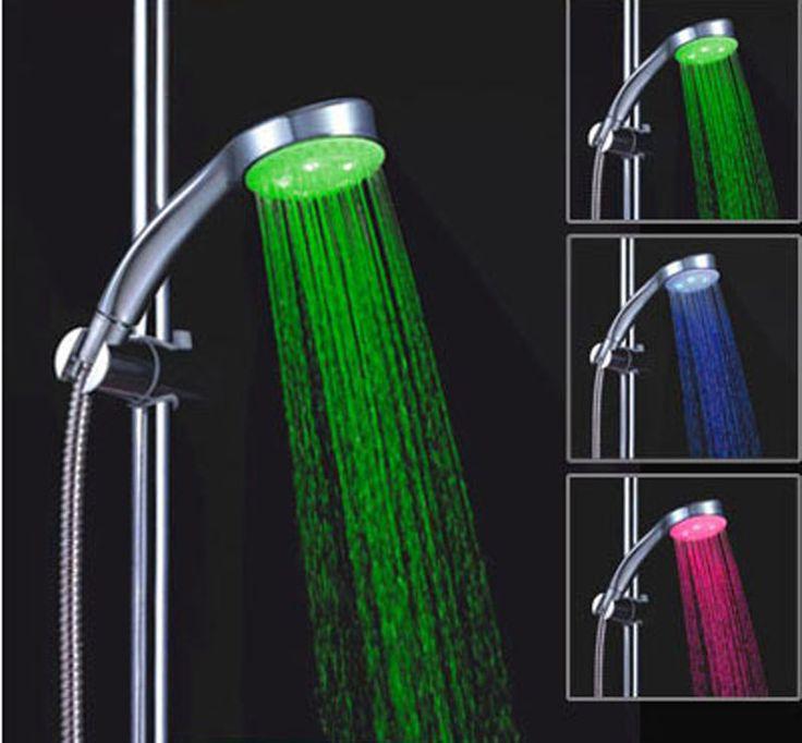 Три цвета красочные Светодиодные Душ температуры контроля ванна душ вокруг Handline привело душем LD8008-A7