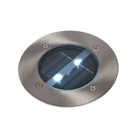Lampe - Spot extérieur encastrable rond Solar LED IP44 - Chrome.  16
