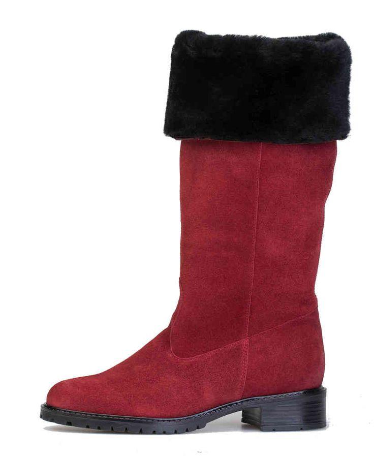 Palmroth kääntövarsisaapas punainen mokka -  chili red waterproof suede boot - Palmroth Shop