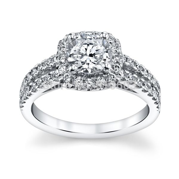 Center 1 Carat Lab Grown Diamond Halo Ring For Girls Solid 9K White Gold Engagement Rings Fashion Wedding Rings For Women