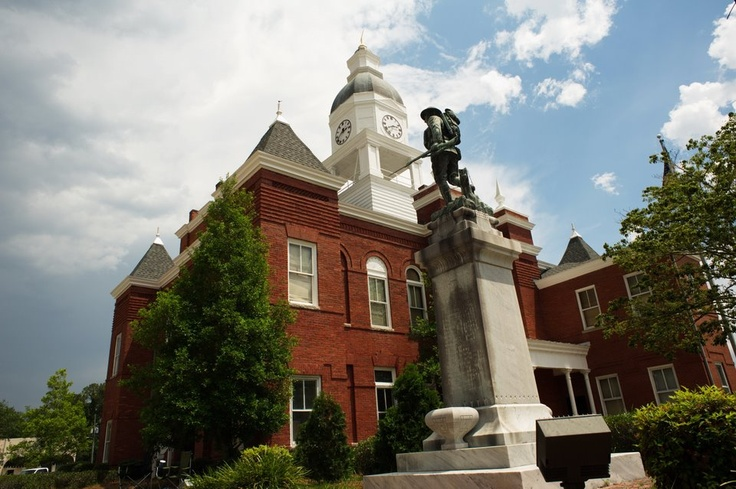WWI Doughboy with Berrien County Courthouse Nashville GA.