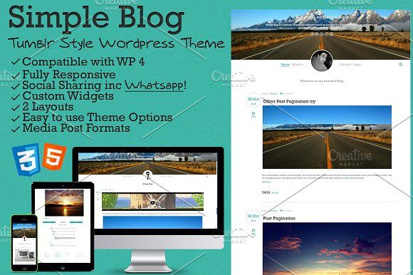 Simple Blog - Tumblr Style WP Theme by IlTuoWebmaster on @creativemarket WordPress themes WordPress templates free WordPress themes template WordPress theme WordPress premium WordPress themes WordPress blog themes themes WordPress WordPress themes free best WordPress themes WordPress website templates WordPress website wp themes WordPress blog WordPress premium themes WordPress free themes WordPress design WordPress themes responsive WordPress blog templates free WordPress templates…
