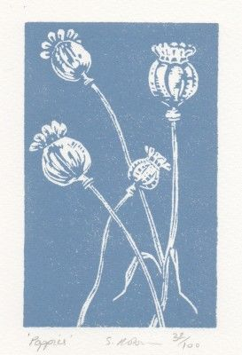 poppies blue 32856