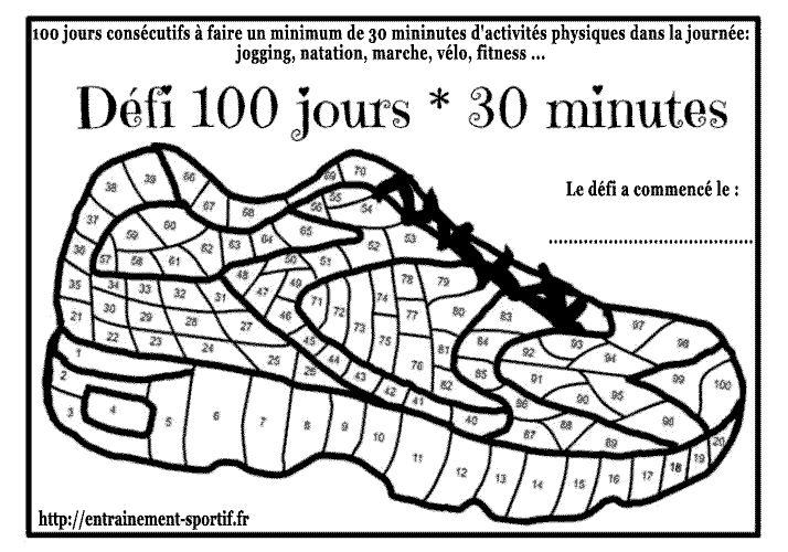 Le défi 100 jours sportifs c'est vivre 100 jours consécutifs avec 30 minutes de sport quotidien