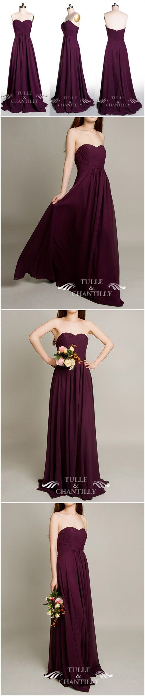 purple wedding ideas - Floor Length A-line Aubergine Dark Purple Bridesmaid Dresses - See more at: http://www.tulleandchantilly.com/floor-length-aline-aubergine-dark-purple-bridesmaid-gown-p-616.html