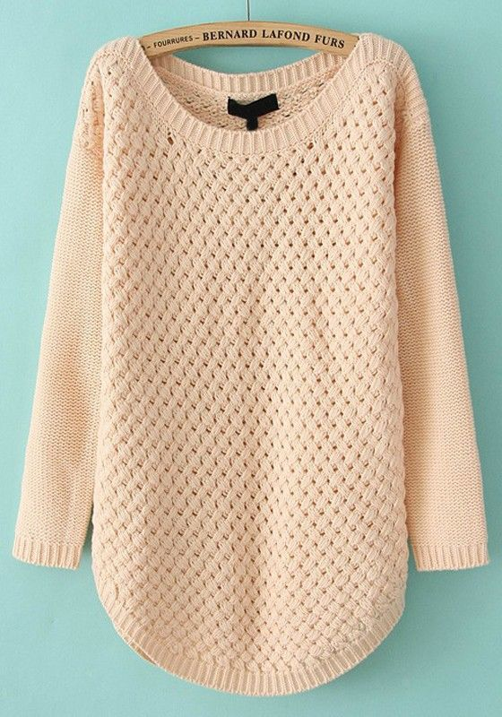 ++ Pink Hollow-out Irregular Round Neck Acrylic Sweater