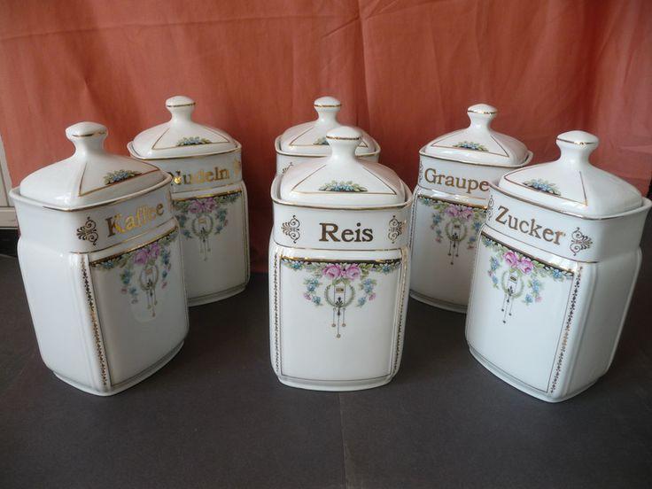 Weiteres - 6 Vorratsdosen aus Porzellan Jugendstildekor - ein Designerstück von KunstundSchund bei DaWanda