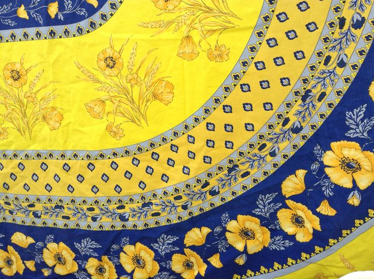 Vintage Quintessential FRENCH PROVENCAL PROVINCIAL Large Tablecloth French  Country Blue And Yellow French Prairie Farmhouse Cottage