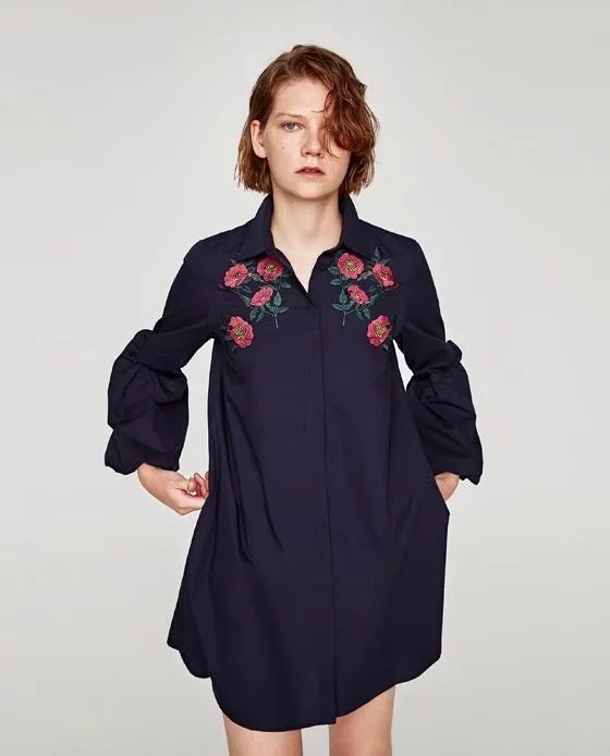 Women's Embroidery Floral Puff Sleeve Shirtdress Long Sleeve Polo Collar Za