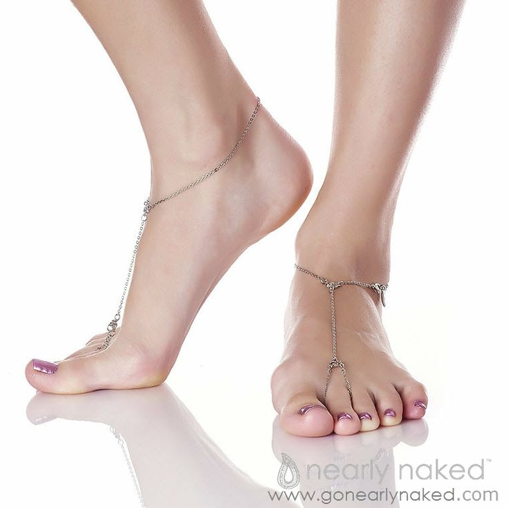 Simply Sexy Silver Anklet Barefoot Sandals | Nearly Naked $98 #gonearlynaked #footjewelry #nakedsandals #beachwear