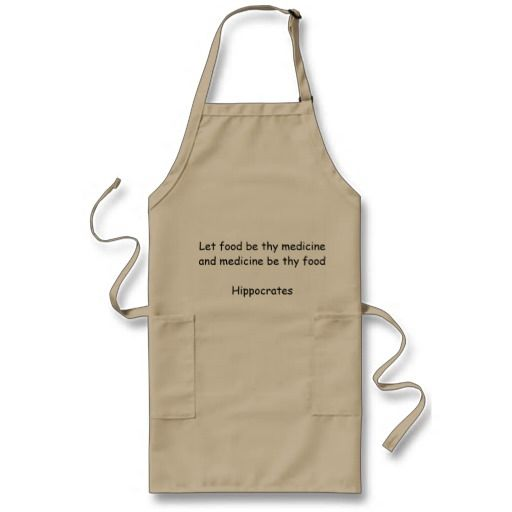 Long apron with Hippocrates quote - With food quote from Hippocrates.  http://www.zazzle.com/long_apron_with_hippocrates_quote-154516754967456040