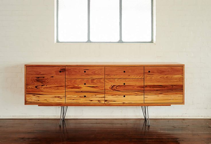 Auld Design - Australian furniture design and joinery. Handmade sideboard / entertainment unit with finger pull detail and steel hairpin legs. Made from reclaimed solid Messmate timber