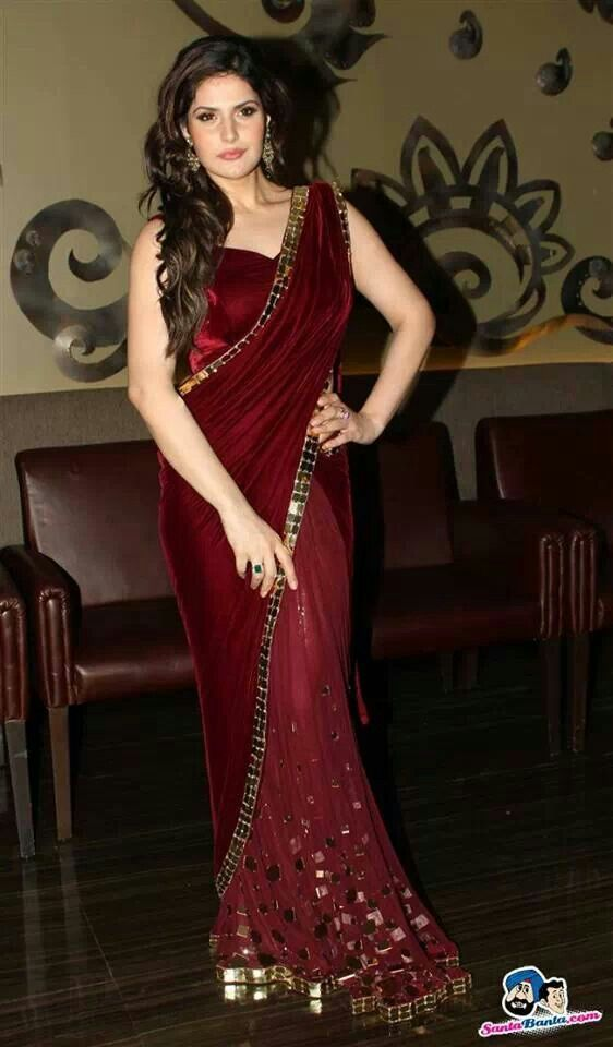 Maroon saree, zarine khan