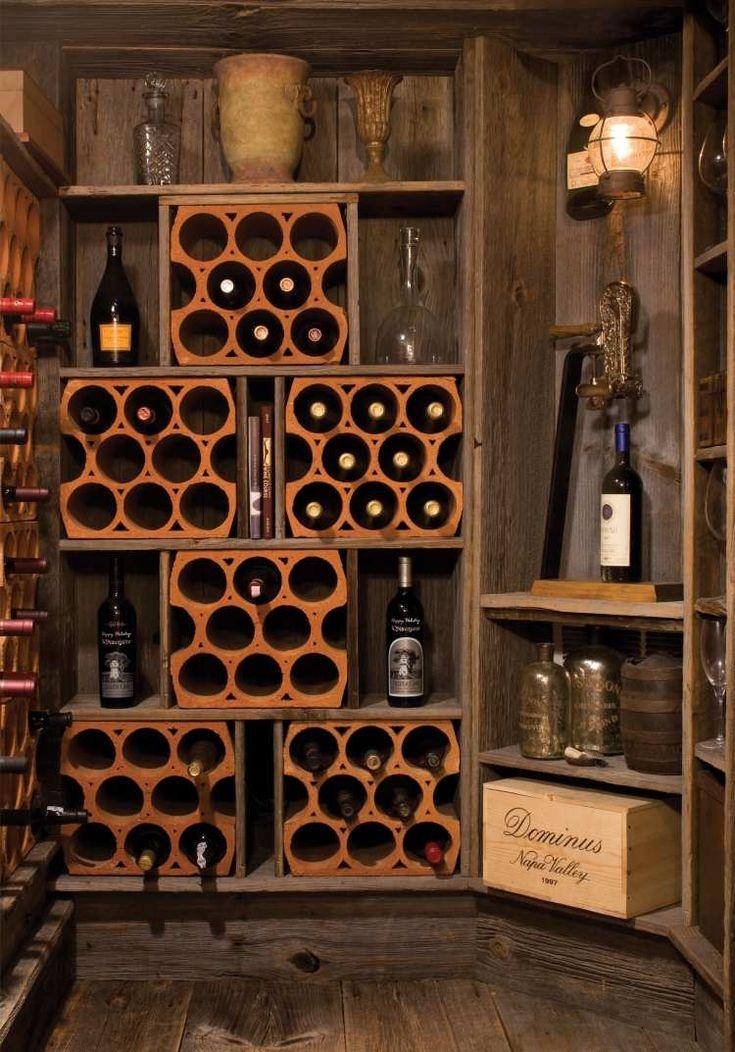 des supports de rangement en bois de bouteuilles de vin