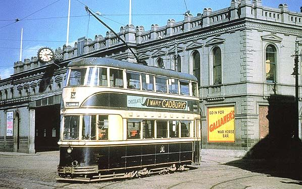 A Belfast Corporation tram is seen outside Belfast Queens Quay station in 1951.