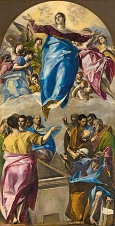 The Assumption of the Virgin (1577–1579) by El Greco (Doménikos Theotokópoulo) (1541 – 1614), oil on canvas, 401 × 228 cm., for the church of Santo Domingo el Antiguo, Toledo, Spain. Now located at the Art Institute of Chicago, Chicago, Illinois, USA.