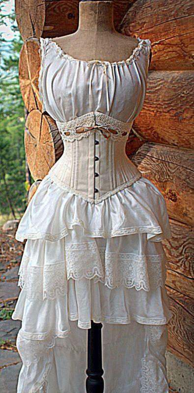 Antique Inspired Wedding Dress Silk Slip Dress by LaBelleFairy
