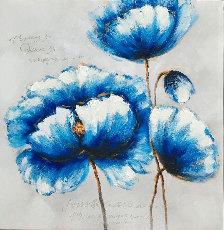 Peonie blu   Misure: 60x60  Hand painted prints