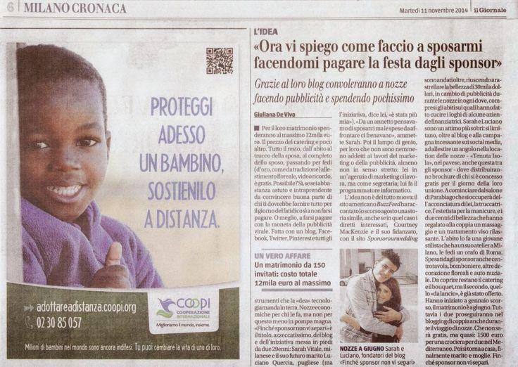 Lasciateci gongolare un pochino! ;) Siamo emozionati!   http://www.finchesponsornonvisepari.blogspot.it/2014/11/parla-di-noi-il-giornale.html