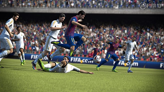 """No shin guards necessary with FIFA '13. Whether your family yells """"Goal!"""" or """"Tor!"""", your soccer fans will love FIFA '13 available at Walmart."""