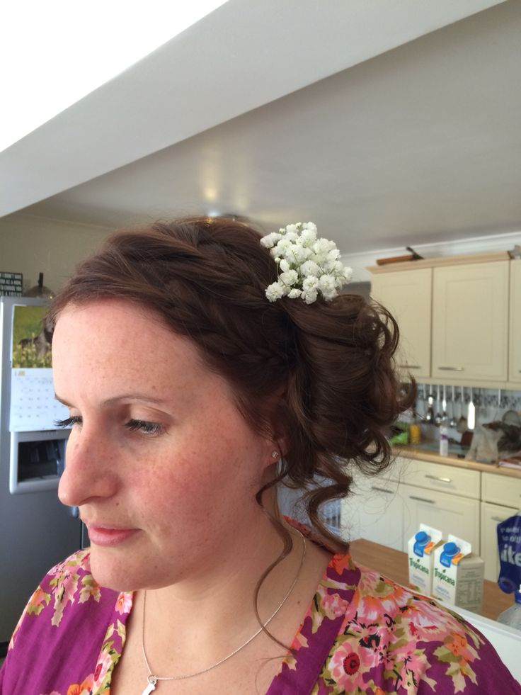 2 plaits, not scraped back, side bun, shabby chic with gyp