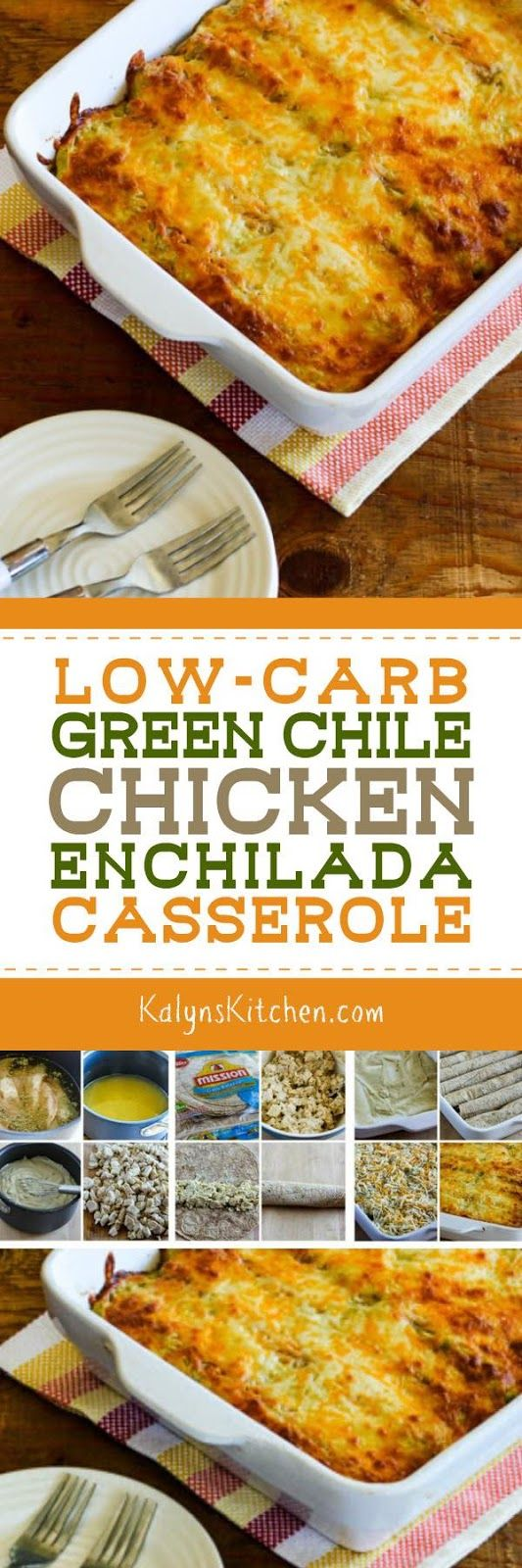 It might be too soon to think about recipes for Back-to-School dinners, but PIN this Low-Carb Green Chile Chicken Enchilada Casserole now and you'll have it when that time comes. And if you don't care about carbs, just use regular tortillas for this no-canned-soup enchilada casserole. [found on KalynsKitchen.com]