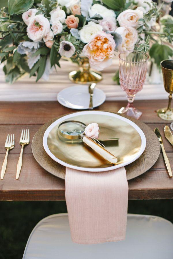Blush + gold table decor: http://www.stylemepretty.com/california-weddings/rancho-santa-fe/2016/05/18/see-why-this-california-wedding-is-a-treasure-trove-of-pretty/ | Photography: Josh Elliott Studios - http://joshelliottstudios.com/